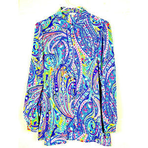 Spense Sheer Paisley LS Career Button Front Blouse